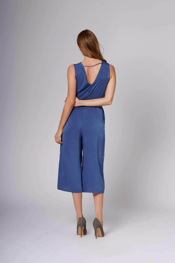 Lisa Blue Midi Jumpsuit-Rompers