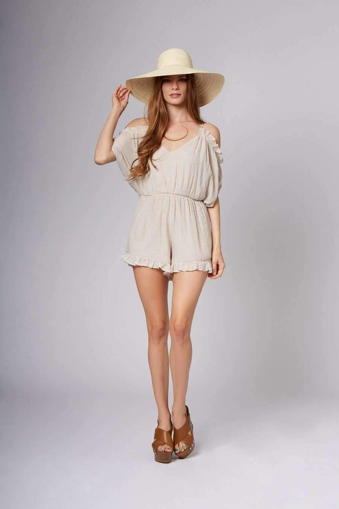 Lo Seashell Off-The-Shoulder Romper-Rompers
