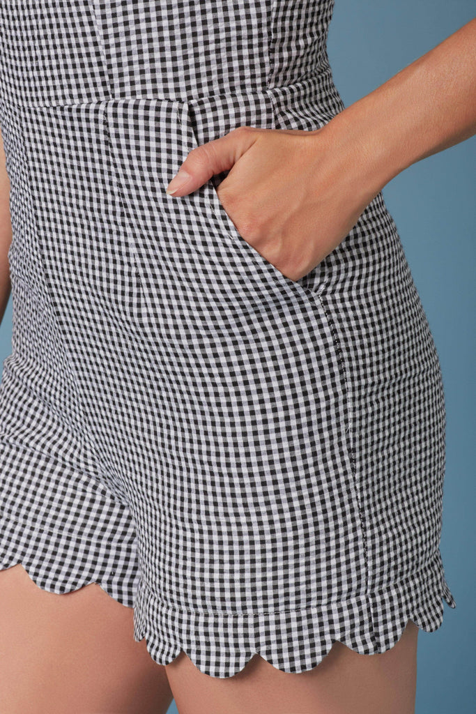 Manhattan Black and White Gingham Print Romper-Rompers