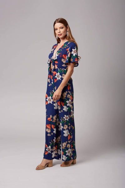 Maryrose Blue Floral Print Jumpsuit by Lush