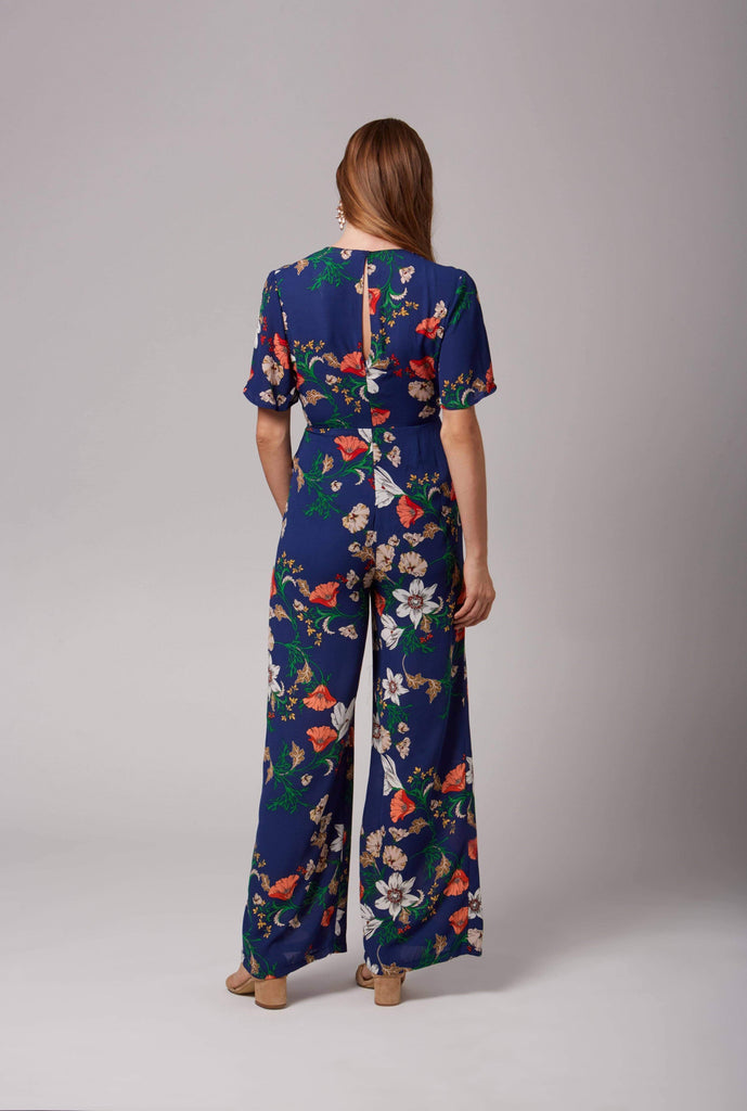 Maryrose Blue Floral Print Jumpsuit by Lush-Rompers