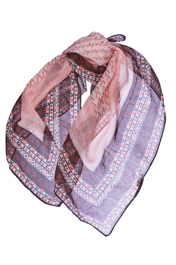 Medium Coral and Brown Printed Square Kerchief Bandana-Accessories