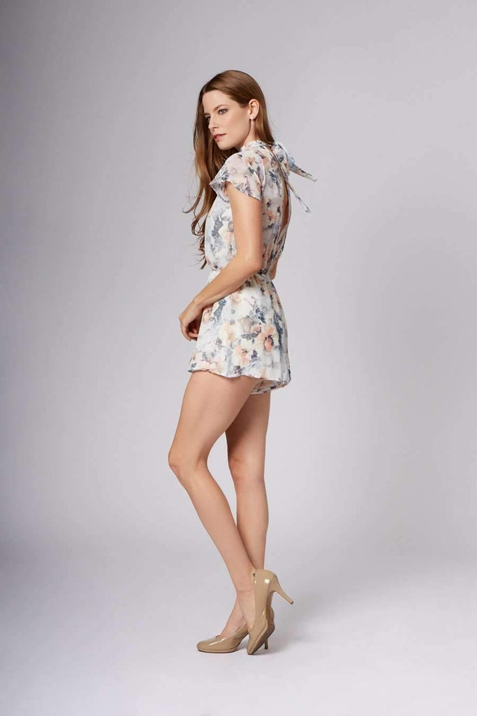 Michelle Blue Floral Choker Romper-Rompers
