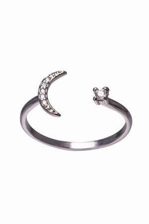 Moon and Star Silver 24K White Gold Dipped Ring-Accessories
