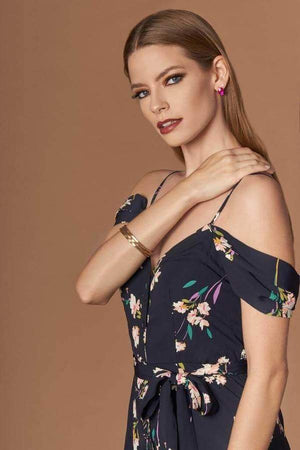 Zen Navy Blue Floral Print Off-the-Shoulder Jumpsuit