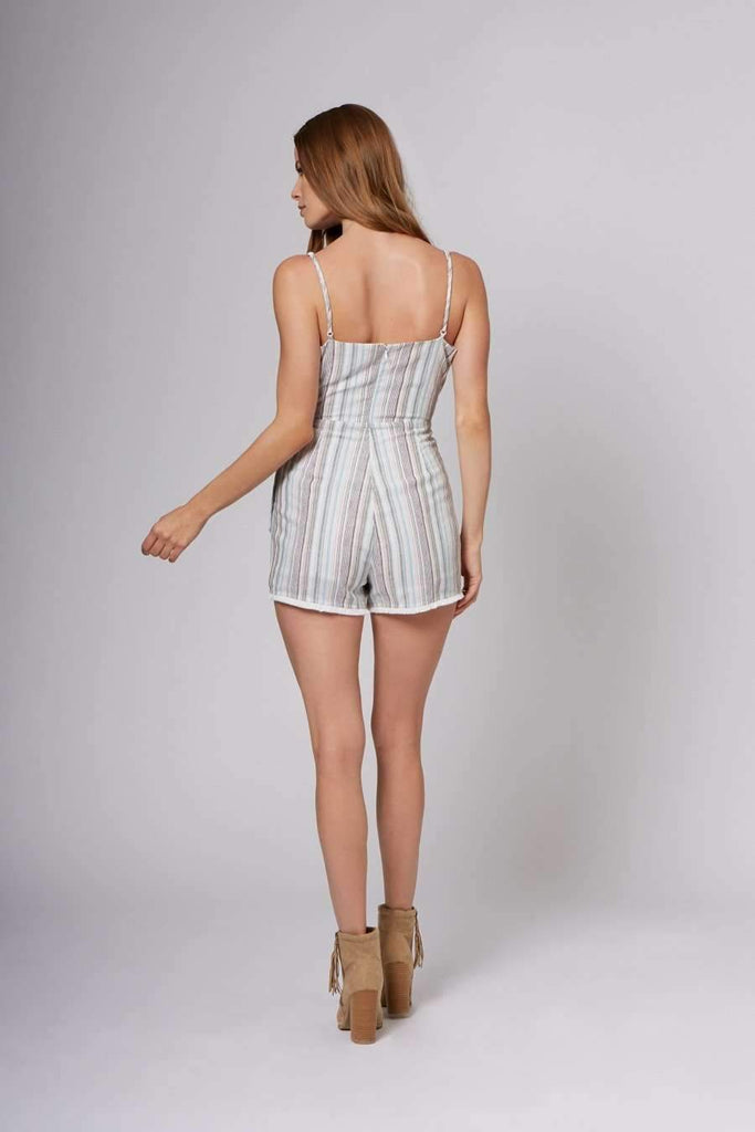Olivia Blue Stripe Wrap Romper-Rompers