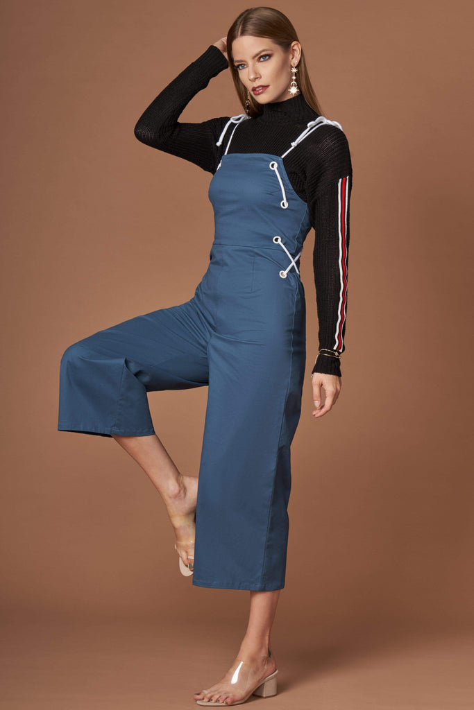 83988ec4b661 Trendy Women's Dark Teal Lace-Up Culotte Jumpsuit | FREE SHIPPING