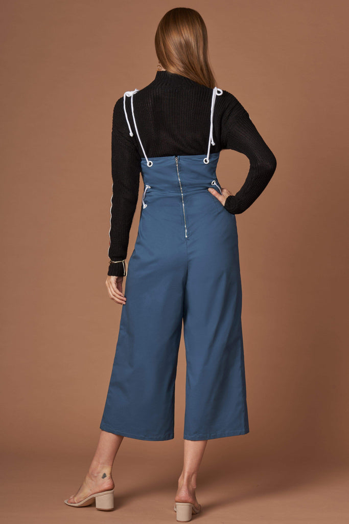OMG Dark Teal Lace-Up Culotte Jumpsuit-Rompers
