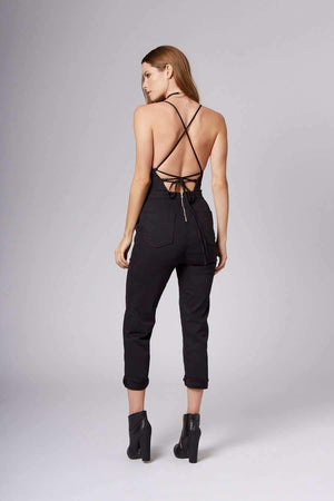 Rosie Black Lace-Up Jumpsuit-Rompers