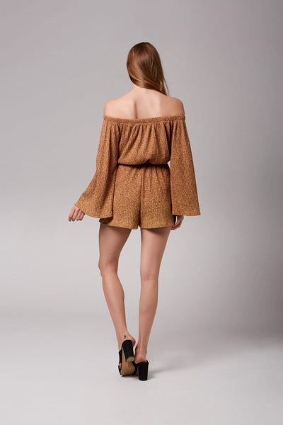 Roxy Mustard Knit Long Sleeve Off-The-Shoulder Romper