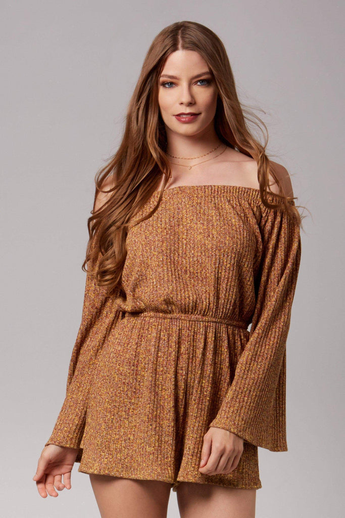 Roxy Mustard Knit Long Sleeve Off-The-Shoulder Romper-Rompers