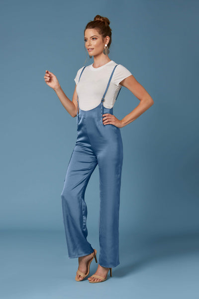 Seoul Blue Satin Suspender Jumpsuit