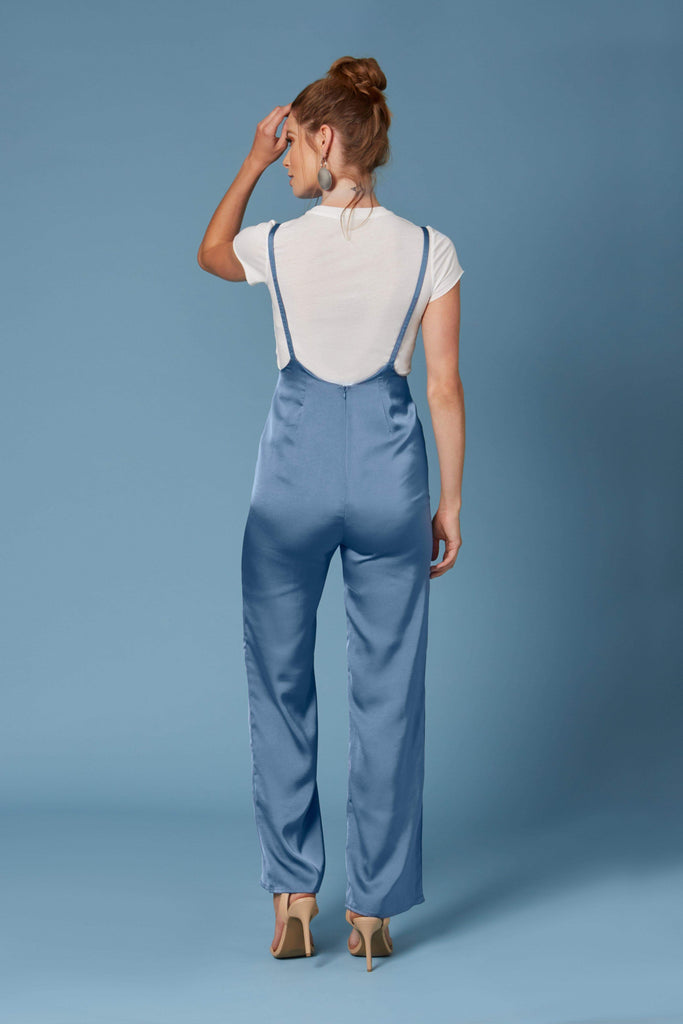 Seoul Blue Satin Suspender Jumpsuit-Rompers