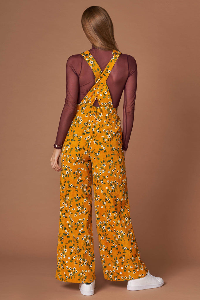 Sia Mustard Floral Print Jumpsuit-Rompers