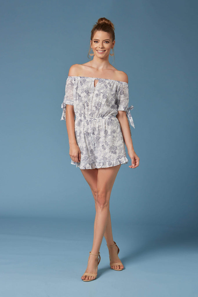 ed5b292218d Sintra White Floral Print Off-the-Shoulder Romper