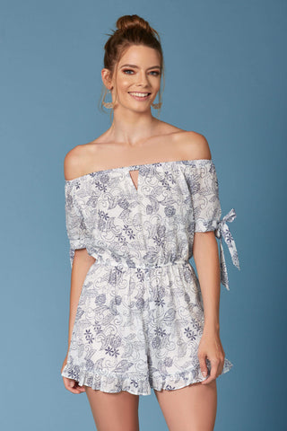 Sintra White Floral Print Off-the-Shoulder Romper-Rompers