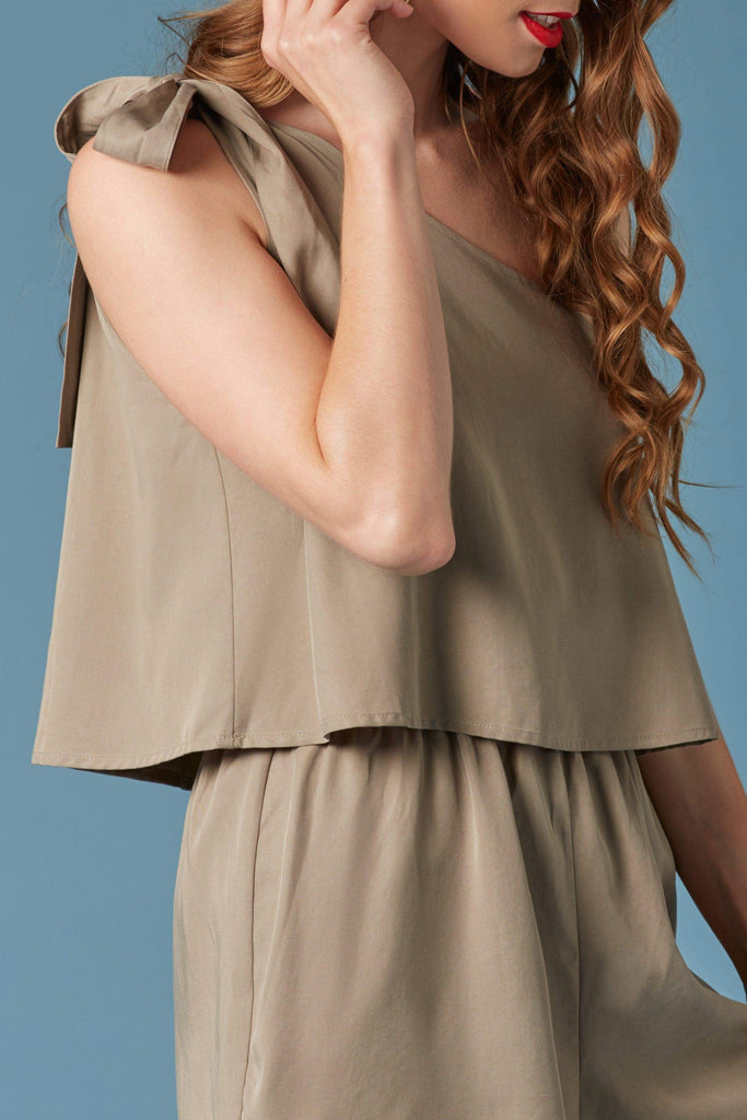 Skywalker Olive Green One-Shoulder Romper-Rompers