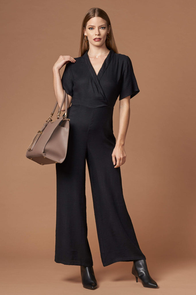 Stellar Black Short Sleeve Jacquard Jumpsuit by Lush-Rompers