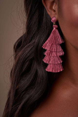 Tiered Mauve Tassel Earrings-Rompers