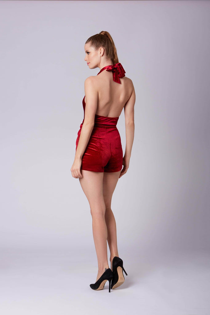 Tiffany Crimson Velvet Knotted Halter Romper by Cotton Candy LA-Rompers