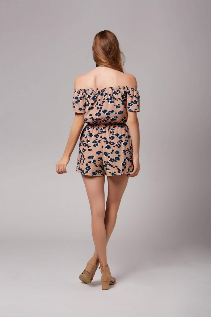 Tori Taupe Leopard Print Off-The-Shoulder Romper-Rompers