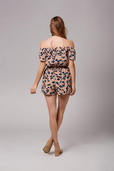 Tori Taupe Leopard Print Off-The-Shoulder Romper