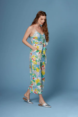 Vincent White Tropical Floral Print Culotte Jumpsuit by Lush-Rompers