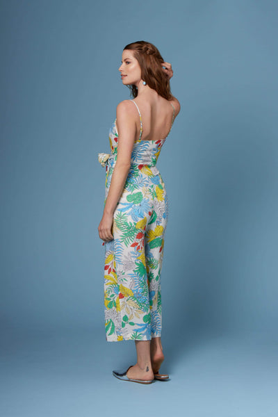 Vincent White Tropical Floral Print Culotte Jumpsuit by Lush