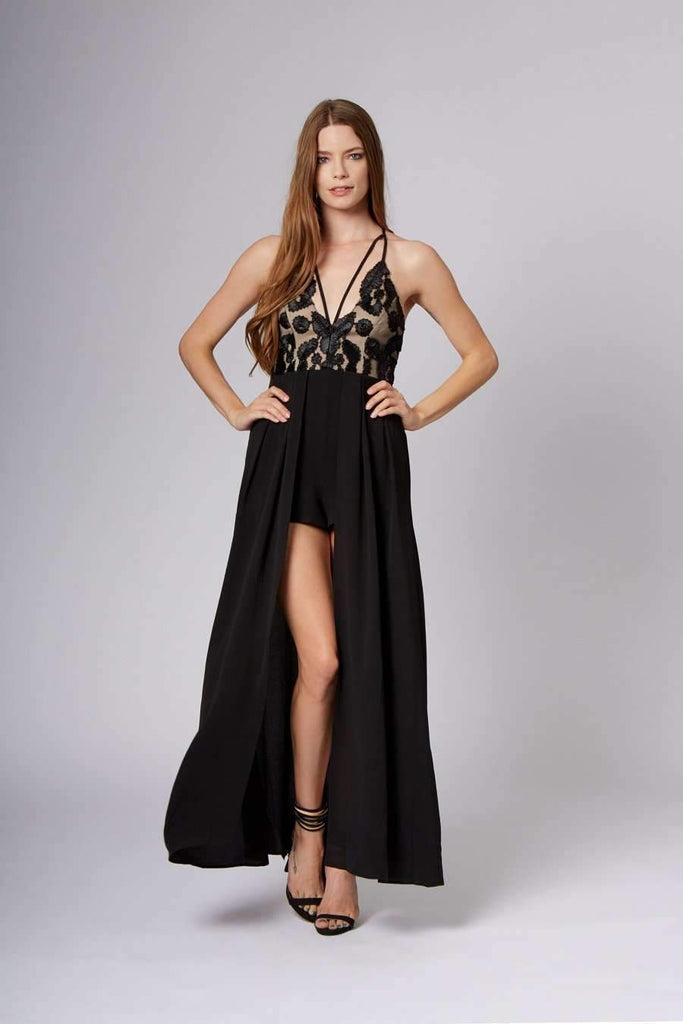 fa78b5570c6 Maxi Skirt with Tailored Shorts   Black Lace Romper