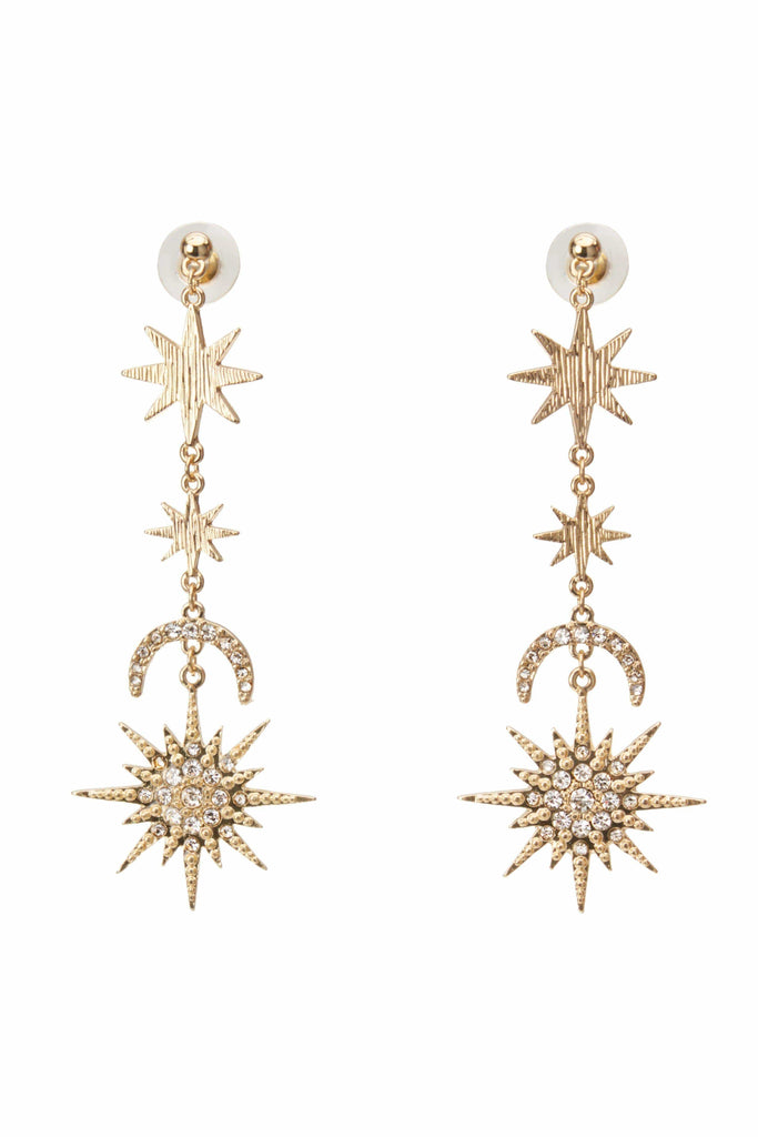 Wish Upon a Starburst Gold Drop Earrings-Accessories