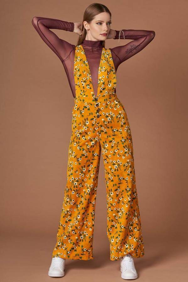 Sia Mustard Floral Print Jumpsuit
