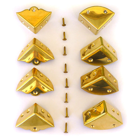 Set of Eight Brass Corners with Screws