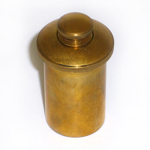 Round Brass Oil Can for Antique pistol or Rifle Case .