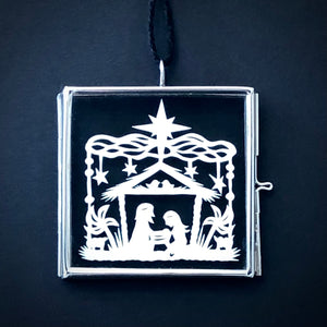 Square Nativity Ornament