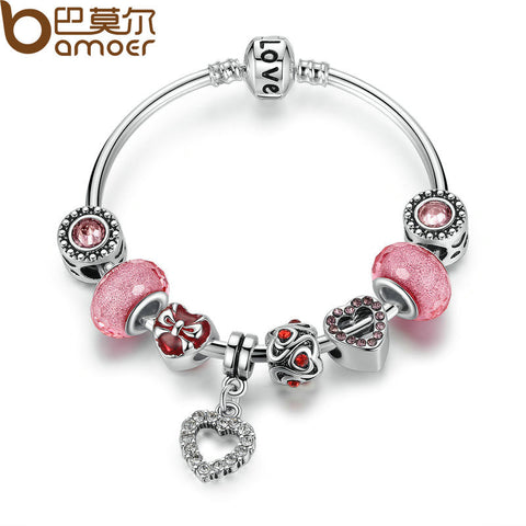BAMOER Silver Love Chain Charm Bracelet with Pink Heart Charms & Glass Beads - All Things Jewelry
