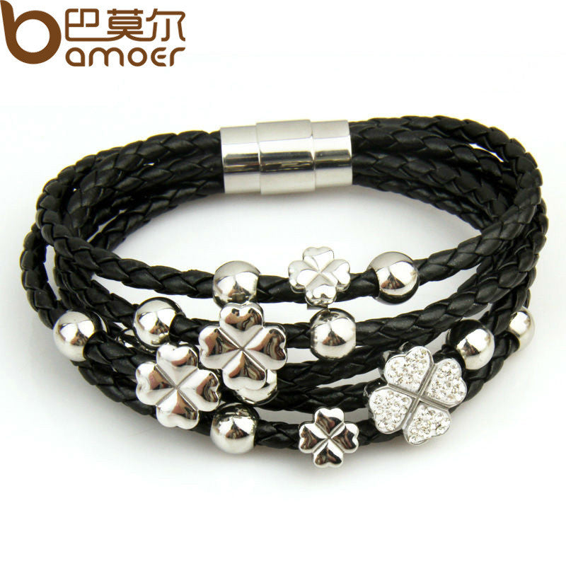 Leather Wrap Bracelet Four Leaf Clover Flower Crystal Bangles - All Things Jewelry