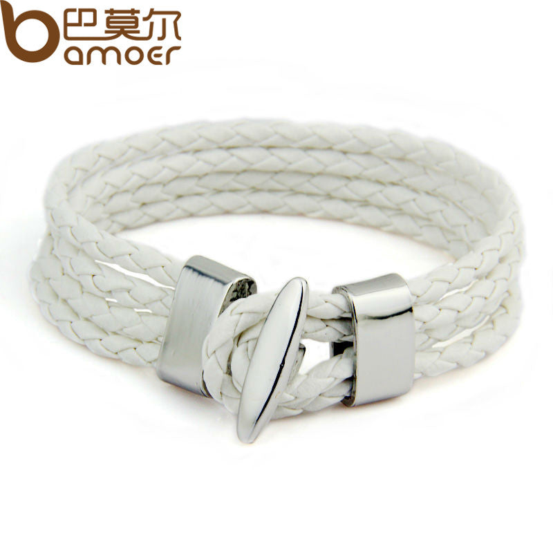 Leather Chain Alloy Multi-layer T Buckle Rope Woven Bracelet - All Things Jewelry