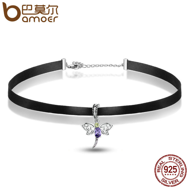 BAMOER Fashion 925 Sterling Silver Cute Dragonfly Pendant Black Choker Necklace - All Things Jewelry