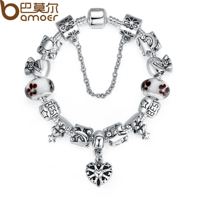 BAMOER Luxury Silver Charm Bracelet - All Things Jewelry
