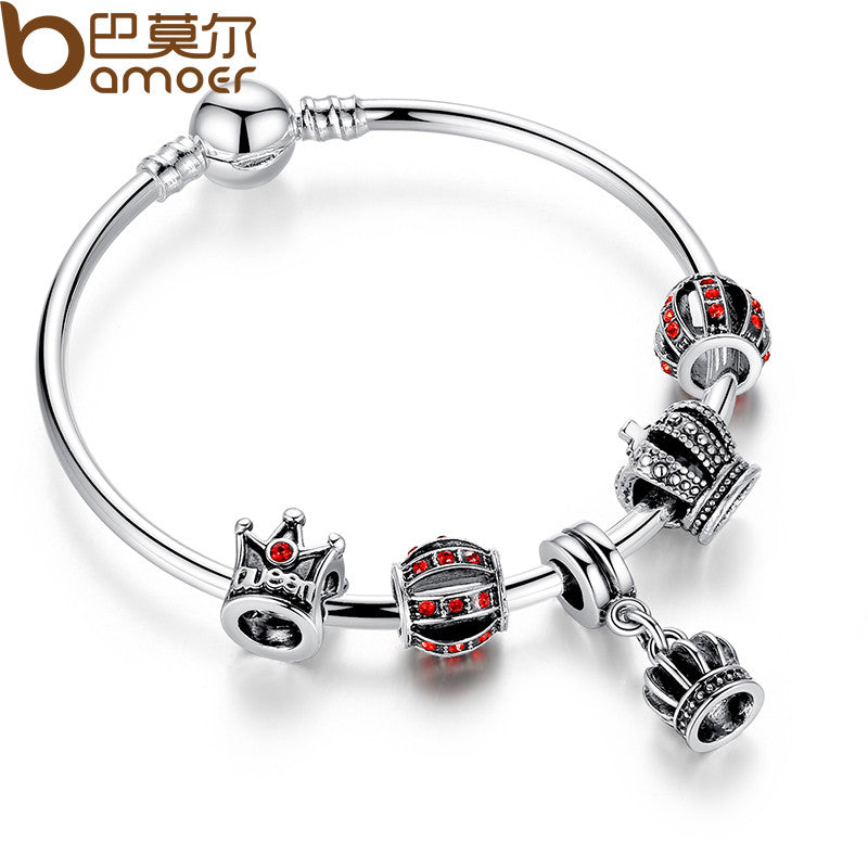 BAMOER Simple Silver Charm Bangle & Bracelet with Royal Crown Pendant & Red Crystal Ball - All Things Jewelry