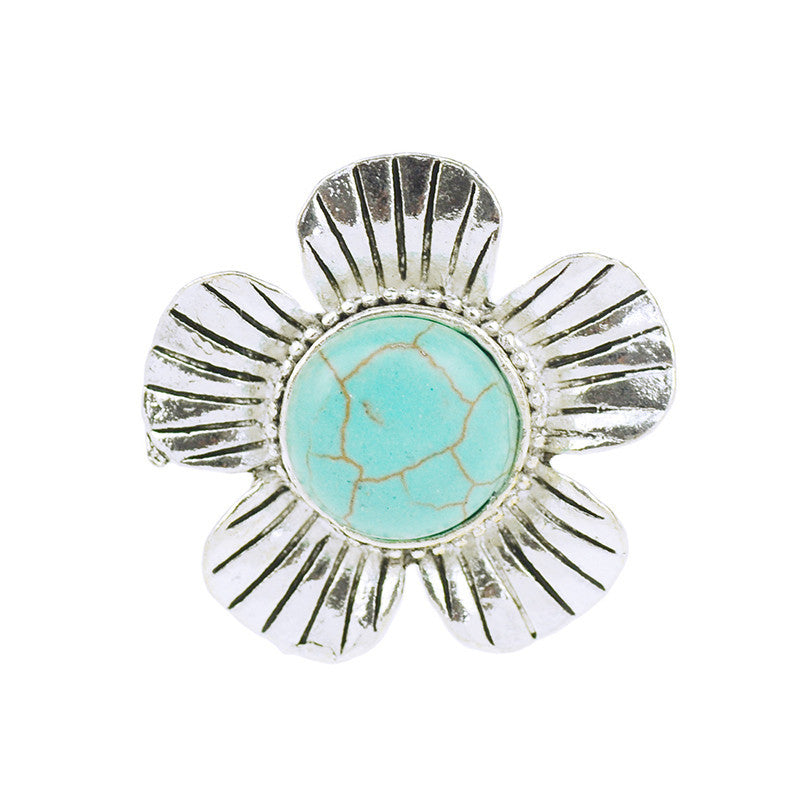 Flowers Turquoise Adjustable Rings - All Things Jewelry