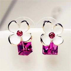 Crystal Flower Earrings - All Things Jewelry