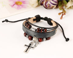 Leather Bracelet with Cross - All Things Jewelry