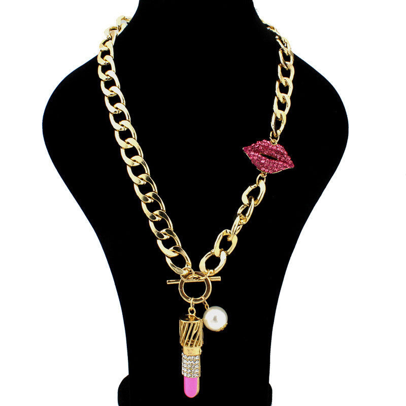 2016 Vintage Jewelry Red Lip Metal Chain Necklace - All Things Jewelry