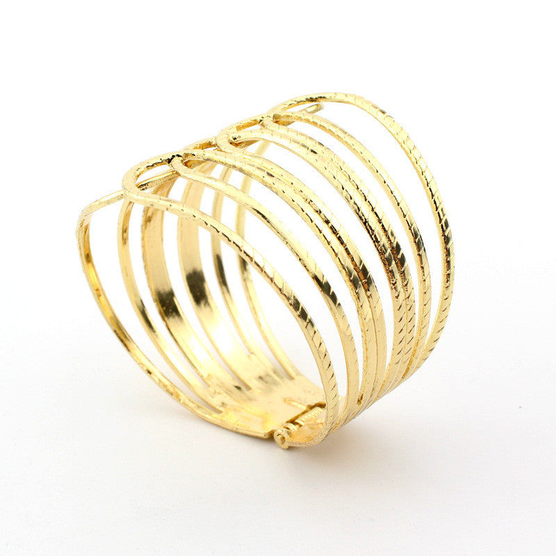 European Alloy Punk Wide Bracelet & Bangle Fashion Striped Openings - All Things Jewelry