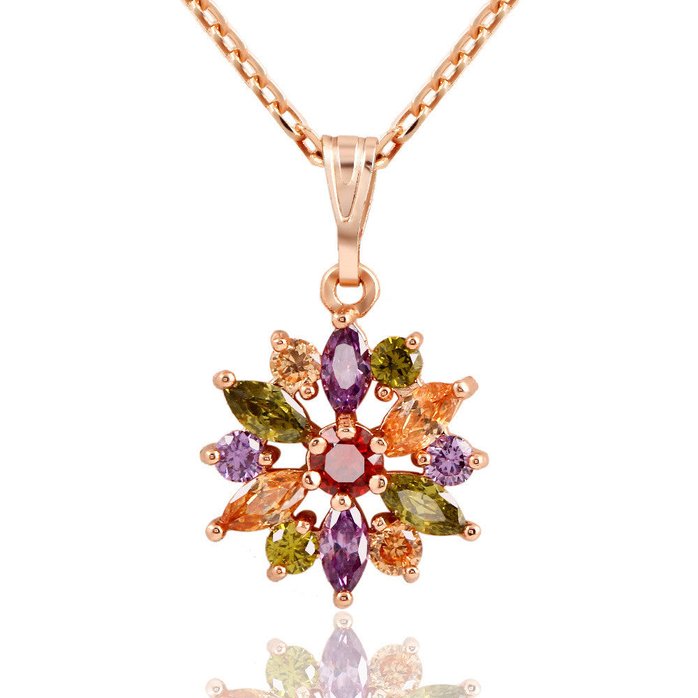 Luxurious Romantic Colorful Zircon Sweater Chain Necklace 18K Gold Necklace - All Things Jewelry