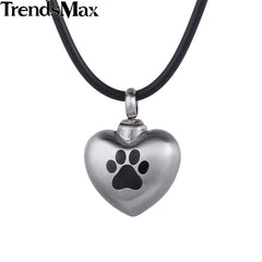 Trendsmax 316L Stainless Steel Dog Paw Pet Matting Heart Love Cremation Memorial Urn - All Things Jewelry