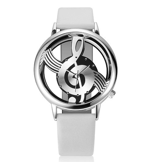 Unique Woman Quartz Analog Hollow Musical Note Style Leather Watch - All Things Jewelry