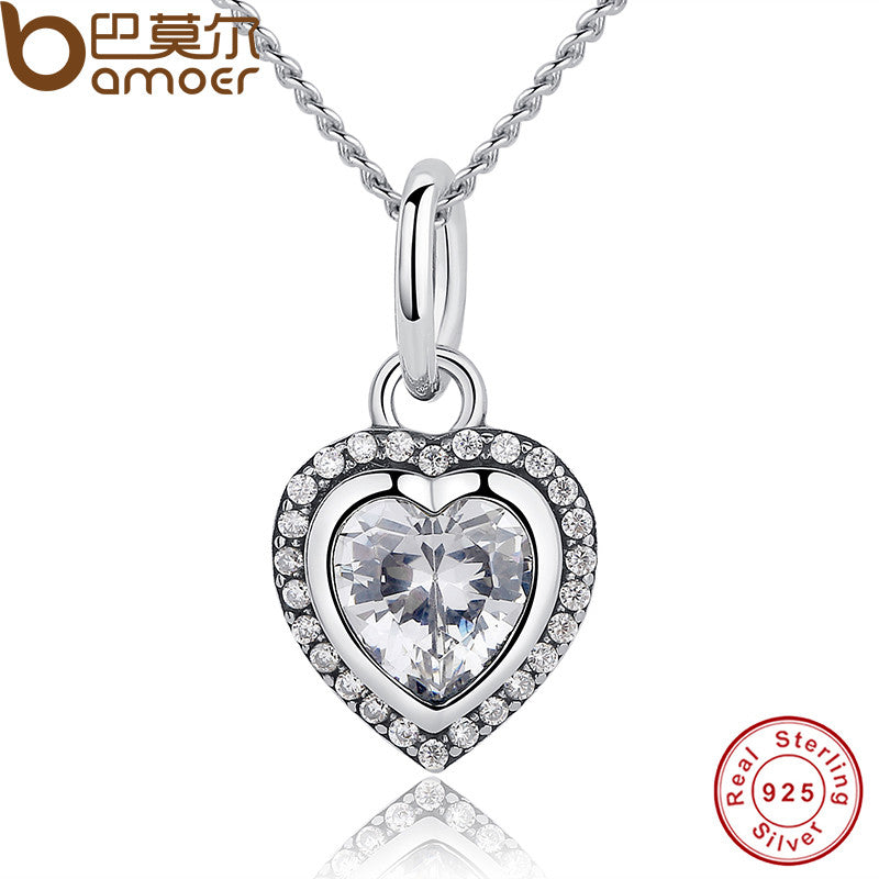 BAMOER 2017 New Arrival Luxury 925 Sterling Silver Love Heart Pendant Necklace - All Things Jewelry