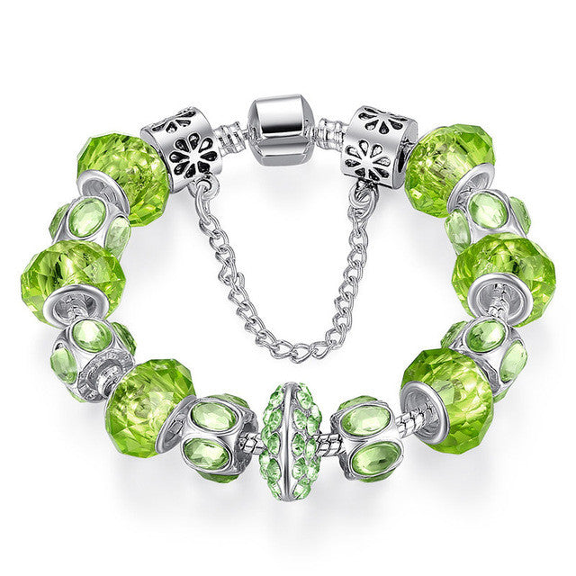 Crystal Bead Charm Bracelet with Safety Chain - All Things Jewelry